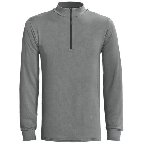 Wickers Long Underwear Top - Zip Mock Turtleneck, Midweight, Long Sleeve (For Tall Men) in Grey