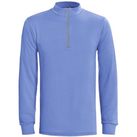Wickers Long Underwear Top - Zip Mock Turtleneck, Midweight, Long Sleeve (For Tall Men) in Light Blue