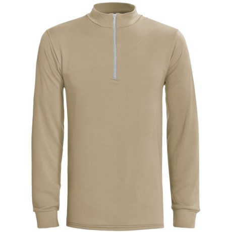 Wickers Long Underwear Top - Zip Mock Turtleneck, Midweight, Long Sleeve (For Tall Men) in Tan