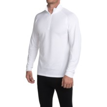 Wickers Midweight Turtleneck Base Layer Top - Zip Neck, Long Sleeve (For Tall Men) in White - Closeouts