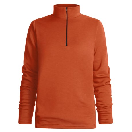 Wickers Mock Turtleneck Long Underwear Shirt - Zip Neck, Heavyweight, Long Sleeve (For Women) in Orange