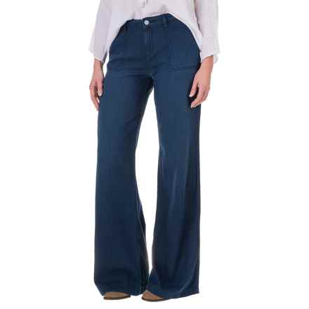 Wide-Leg Denim Pants - Cotton-Modal (For Women) in Navy - 2nds