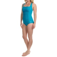 Wide Strap Tank One-Piece Swimsuit (For Women) in Teal Ruched Front - 2nds