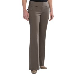 Wide Waistband Dress Pants - Flare Leg (For Women) in Taupe