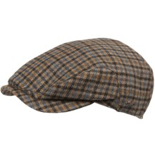 Wigens District Check Cap - Lambswool (For Men) in Grey/Brown - Closeouts