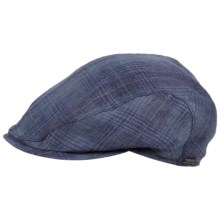 Wigens Irish Linen Slim Ivy Cap - Mesh Lined (For Men) in Navy Plaid - Closeouts