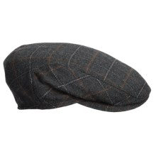 Wigens Ivy Plaid Driving Cap - Cashmere, Ear Flaps in 096 Dk Grey - Closeouts