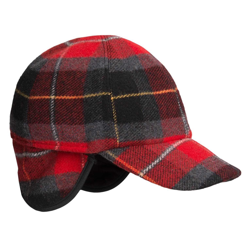 wigens plaid baseball cap wool ear flaps 9043k save 74