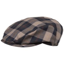 Wigens Slim Plaid Ivy Cap - Lambswool, Mesh Lined (For Men) in Navy/Tan - Closeouts