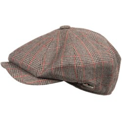 Wigens Wool Plaid Newsboy Cap (For Men) in Grey/Brown