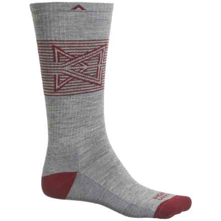 Wigwam Broken Arrow Pro Socks - Merino Wool, Crew (For Men and Women) in Heather Grey/Dark Rust - 2nds