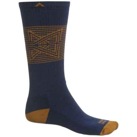 Wigwam Broken Arrow Pro Socks - Merino Wool, Crew (For Men and Women) in Navy/Gold Brown - 2nds