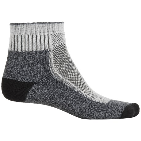 Wigwam Cool Lite Hiker Pro Socks - Quarter Crew (For Men and Women) in Charcoal/Cream/Black