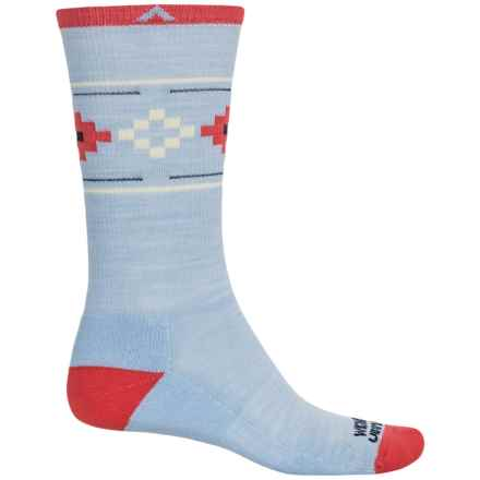 Wigwam Copper Canyon Pro Socks - Merino Wool Blend, Crew (For Women) in Periwinkle/Coral/Yellow - 2nds