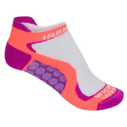 Wigwam Ironman Running Socks - Below the Ankle (For Women) in White/Neon Orange/Magenta/Purple - 2nds