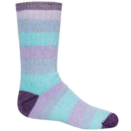 Wigwam Lil' Rascal Hiking Socks - Merino Wool Blend, Crew (For Little and Big Kids) in Purple/Aqua - 2nds