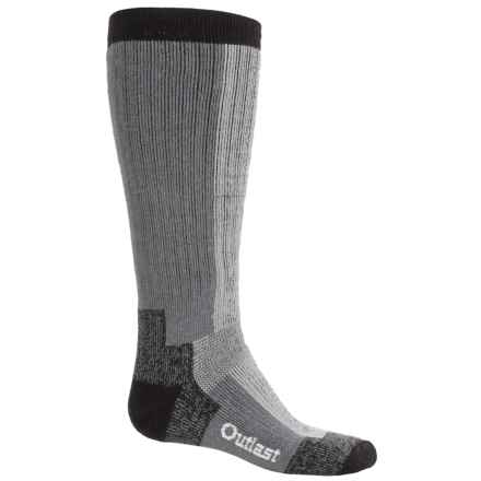 Wigwam Outlast® Rubber Boot Socks - Merino Wool Blend, Over the Calf (For Men) in Grey/Light Grey Heather/Black - 2nds