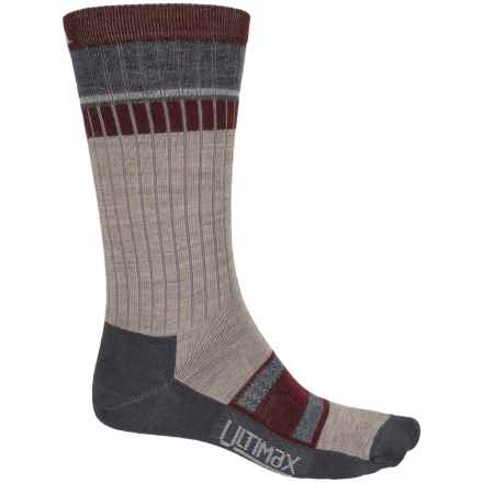 Wigwam Pikes Peak Pro Socks - Merino Wool Blend, Crew (For Women) in Tan/Dark Grey Heather/Maroon - 2nds