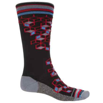 Wigwam Qubix Crew Socks - Merino Wool, Crew (For Men) in Black W/3D Squares - 2nds