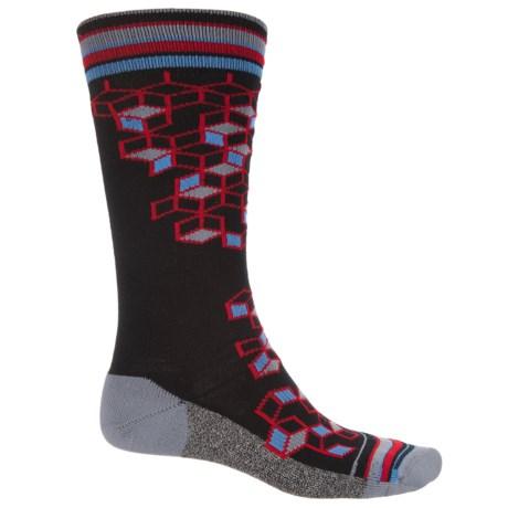 Wigwam Qubix Crew Socks - Merino Wool, Crew (For Men) in Black W/3D Squares