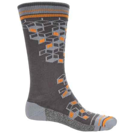 Wigwam Qubix Crew Socks - Merino Wool, Crew (For Men) in Charcoal W/3D Squares - 2nds