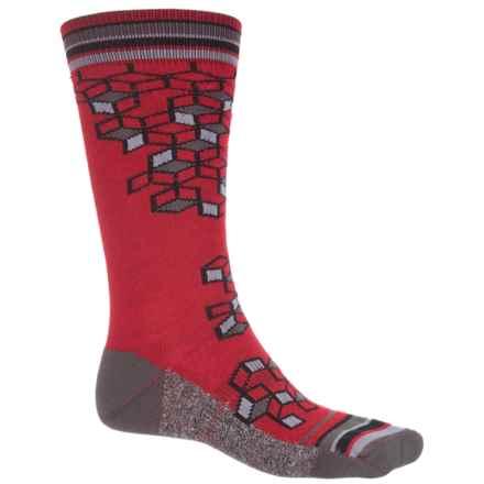 Wigwam Qubix Crew Socks - Merino Wool, Crew (For Men) in Chili Pepper W/3D Squares - 2nds