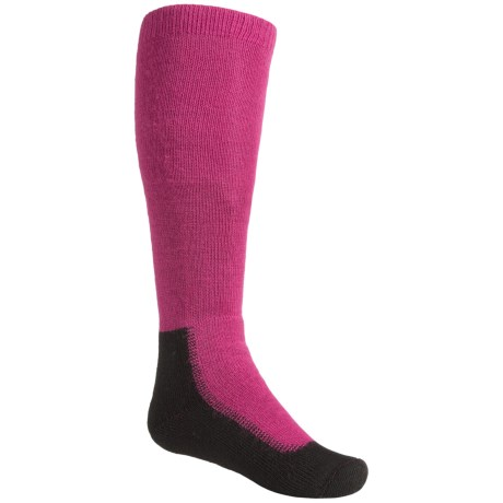 Wigwam Snow Chaser Pro Ski Socks - Over the Calf (For Little and Big Kids) in Raspberry
