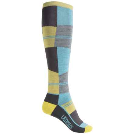Wigwam Snow Cube Pro Ski Socks - Over the Calf (For Women) in Yellow/Blue/Grey - 2nds
