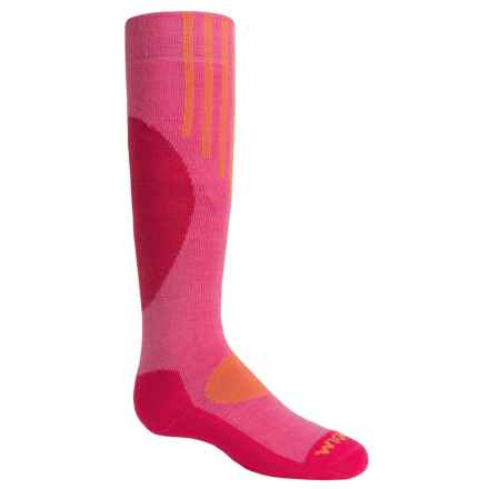 Wigwam Snow Pop Ski Socks - Merino Wool, Over the Calf (For Youth) in Crmne Rose - Closeouts