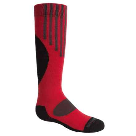 Wigwam Snow Pop Ski Socks - Merino Wool, Over the Calf (For Youth) in Poppy - Closeouts