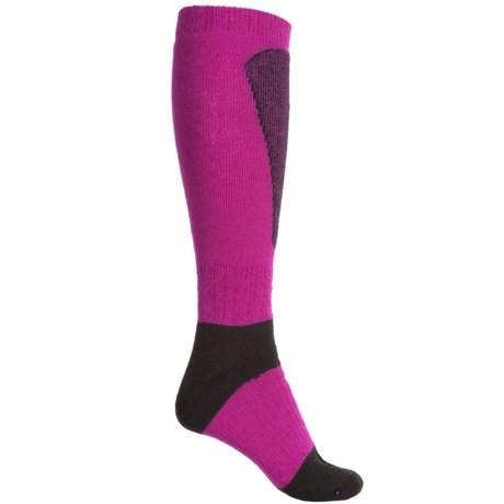Wigwam Snow Sirocco Socks - Over the Calf (For Men and Women) in Fuchsia/Black
