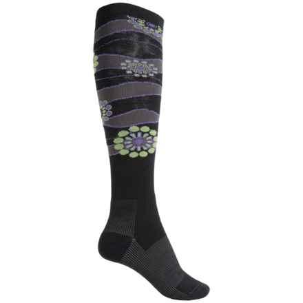 Wigwam Snow Sparkle Fusion Ski Socks - Over the Calf (For Men and Women) in Black - Closeouts