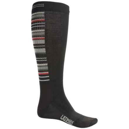 Wigwam Snow Stripe Pro Ski Socks - Over the Calf (For Men) in Black - Closeouts