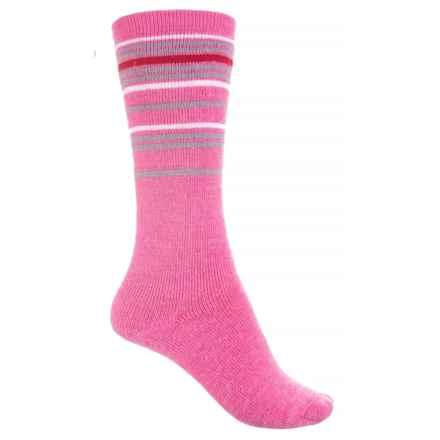 Wigwam Snow Swirl Socks - Merino Wool, Over the Calf (For Girls) in Crimson Rose - Closeouts