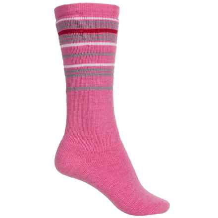 Wigwam Snow Swirl Socks - Merino Wool, Over the Calf (For Little and Big Kids) in Carmine Rose - 2nds