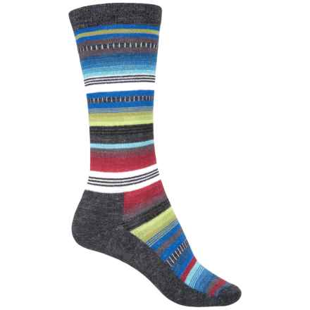 Wigwam Taos Socks - Merino Wool, Crew (For Women) in Black/ Multi Stripe - 2nds