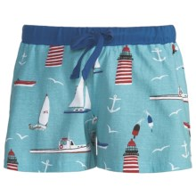 Wild & Cozy by Hatley Cotton Jersey Boxer Shorts - Drawstring, Underwear (For Women) in First Mate - Closeouts