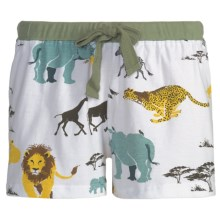 Wild & Cozy by Hatley Cotton Jersey Boxer Shorts - Drawstring, Underwear (For Women) in Safari - Closeouts