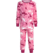 Wild & Cozy by Hatley Cotton Jersey Pajamas - Long Sleeve (For Kids) in Camooseflage Pink - Closeouts