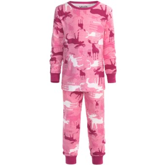 Wild & Cozy by Hatley Cotton Jersey Pajamas - Long Sleeve (For Kids) in Camooseflage Pink