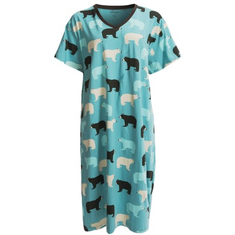 Wild & Cozy by Hatley Cotton Jersey Sleep Shirt - Short Sleeve (For Women) in Blue Bears