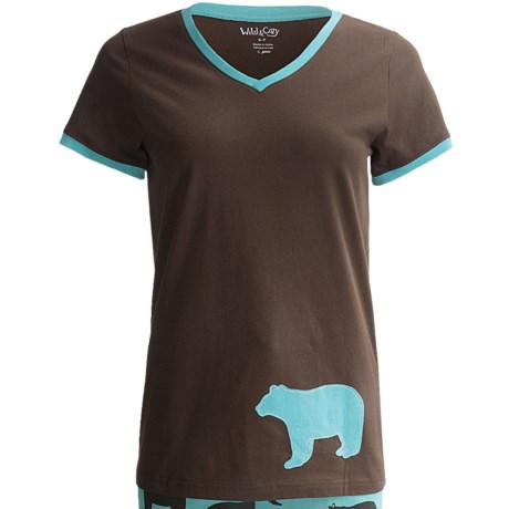 Wild & Cozy by Hatley Cotton Jersey T-Shirt - Short Sleeve (For Women) in Blue Bears