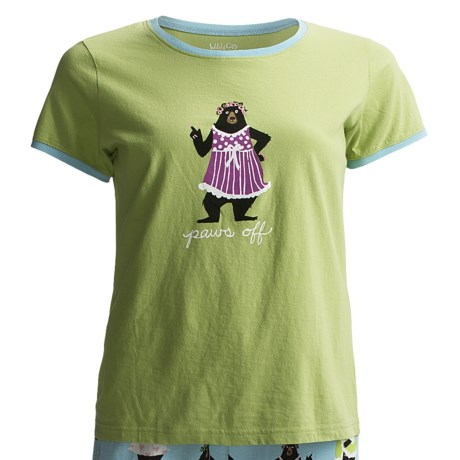 Wild & Cozy by Hatley Cotton Jersey T-Shirt - Short Sleeve (For Women) in Paws Off