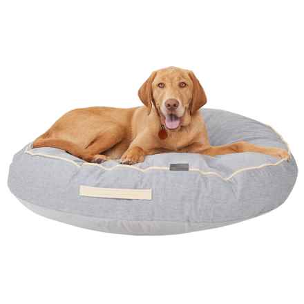 "Wild Olive Large Round Gusset Pet Bed - 35"" in Chambray - Closeouts"