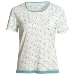 Wildbleu Heat Release Technology Shirt - Lace Hem, Short Sleeve (For Women) in Caribbean Dot