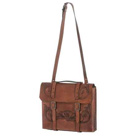 Will Leather Goods Hand-Tooled Leather Briefcase in Brown - Closeouts