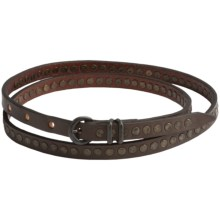 Will Leather Goods Olive Studded Belt - Leather (For Women) in Brown - Closeouts