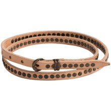 Will Leather Goods Olive Studded Belt - Leather (For Women) in Natural - Closeouts