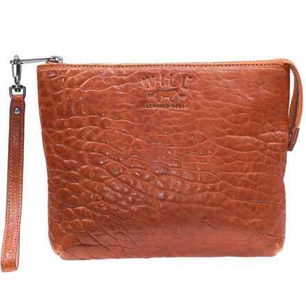 Will Leather Goods Opal Zip Pouch - Leather (For Women) in Orange - Closeouts