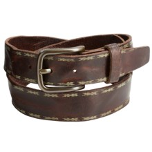 Will Leather Goods Reid Belt - Embossed Leather (For Men) in Brown - Closeouts